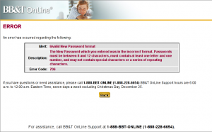 Error page for BBT Online Banking